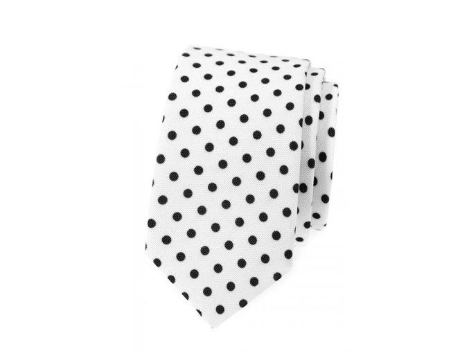 Úzká kravata Avantgard Lux - bílá s černými puntíky