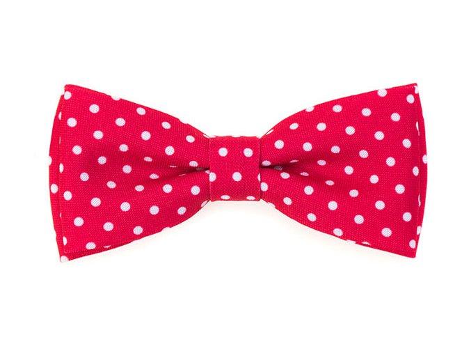Dvojitý motýlek Avantgard s kapesníčkem - červený s bílými puntíky