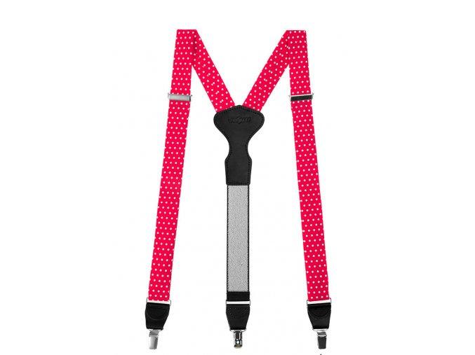 Pánské šle Avantgard - červené s bílými puntíky, černá kůže