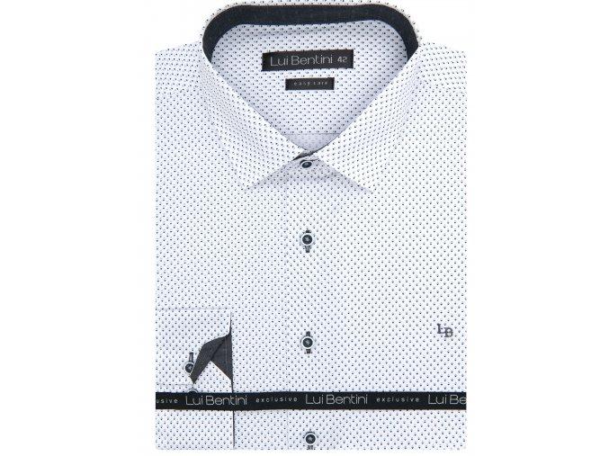Luxusní bavlněná košile Lui Bentini Comfort fit - bílošedá
