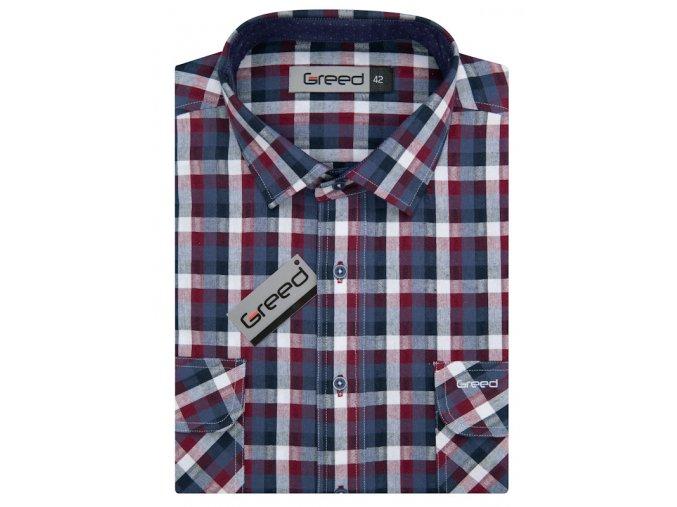Bavlněná  košile AMJ Greed Comfort fit - modročervená