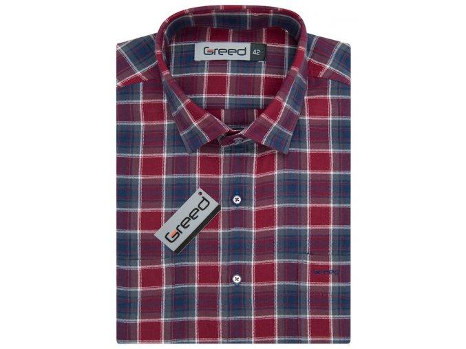 Flanelová košile AMJ Greed Comfort fit - modročervená