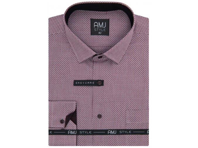 Pánská košile AMJ Comfort fit se vzorem - vínová