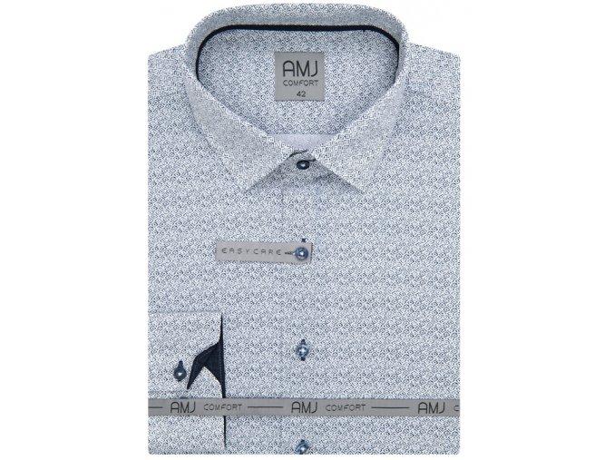 Pánská košile AMJ Comfort fit se vzorem - bílá / šedá