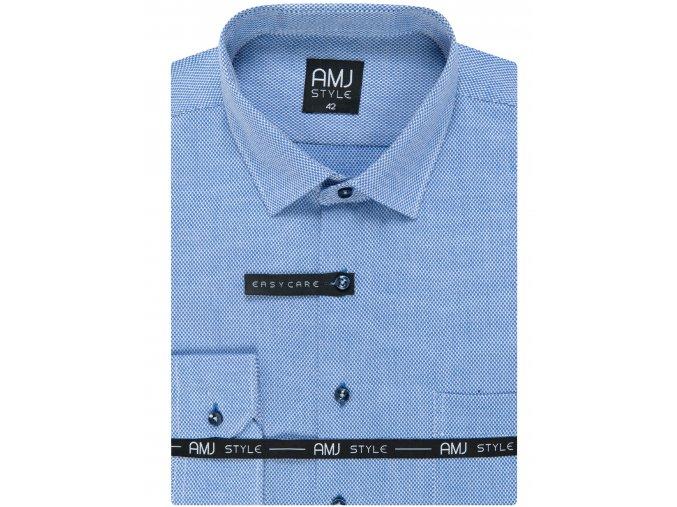 Pánská košile AMJ Comfort fit s jemným vzorem - modrá / bílá