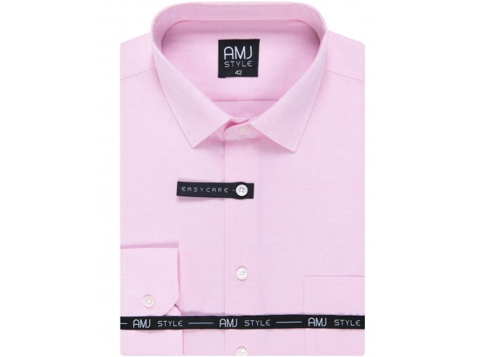 Pánská košile AMJ Comfort fit s jemným vzorem - růžová
