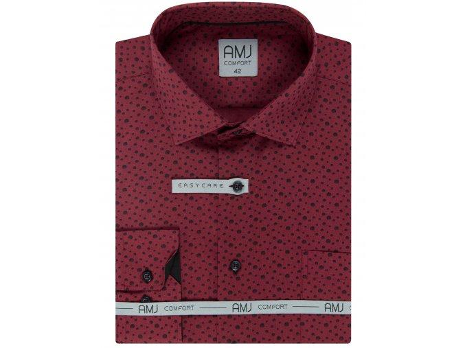 Pánská košile AMJ Comfort fit vínová s černým vzorem