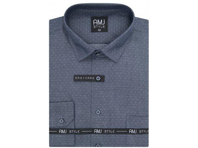 Pánská košile AMJ Comfort fit s tečkami - šedá