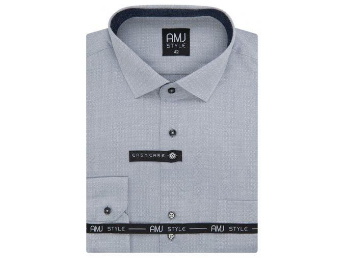 Pánská košile AMJ Comfort fit s jemným vzorem -  šedá