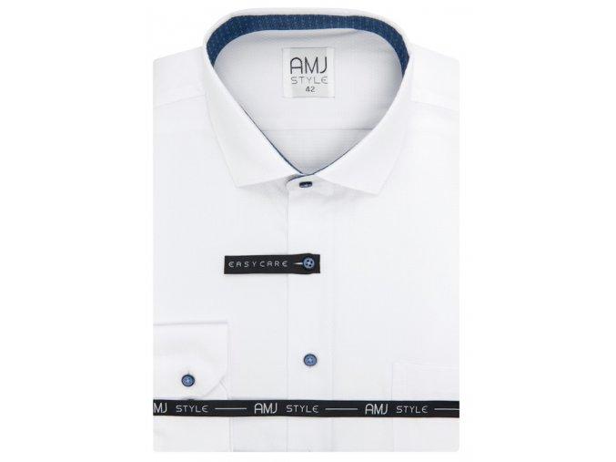 Pánská košile AMJ Comfort fit s jemnou strukturou - bílá