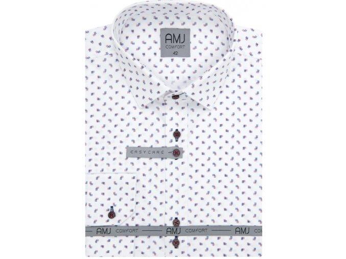 Pánská košile AMJ Comfort fit bílá s modým a červeným vzorem