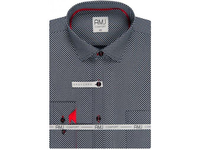 Pánská košile AMJ Slim fit se vzorem - šedá