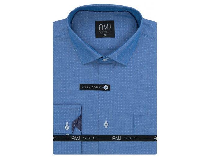 Pánská košile AMJ Slim fit se vzorem - modrá