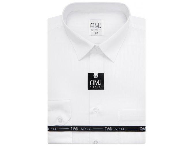 Pánská košile AMJ Slim fit s jemnými proužky - bílá