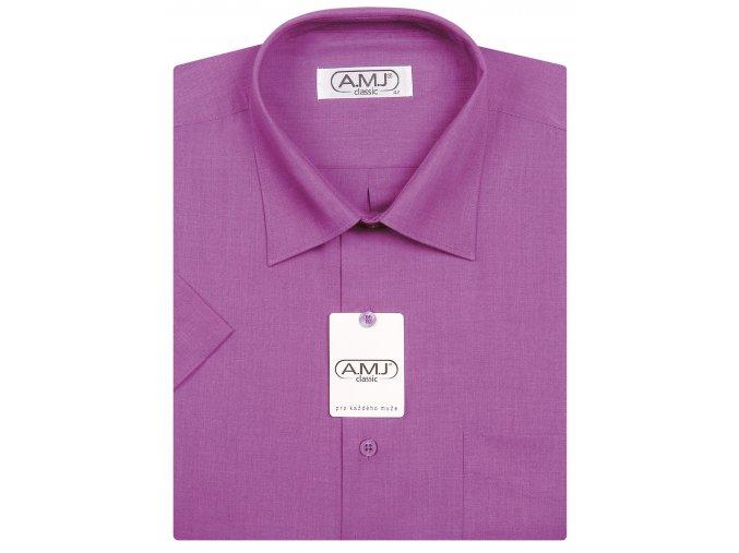 Pánská košile AMJ Comfort fit s krátkým rukávem - fuchsiová