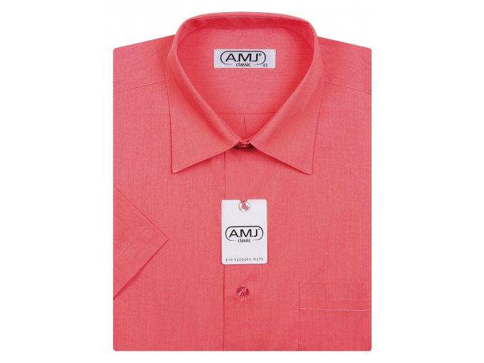 Pánská košile AMJ Comfort fit s krátkým rukávem - malinová