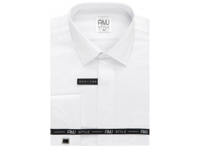 Společenská košile AMJ Comfort fit s jemným vzorem a dvojitou manžetou - bílá