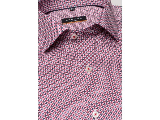"""Košile Eterna Slim Fit """"Popeline Print"""" Červená s extra prodlouženým rukávem"""