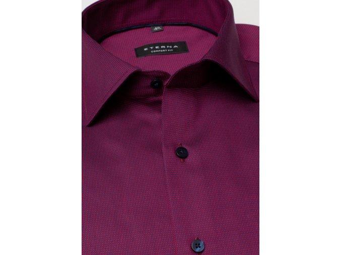 """Pánská košile Eterna Comfort Fit """"Twill Strukturl"""" s krátkým rukávem Vínová"""