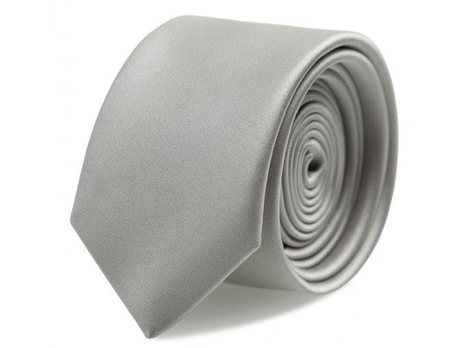 Slim kravata s kapesníčkem Brinkleys - stříbrná