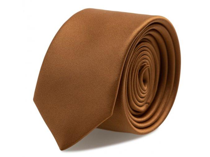 Slim kravata s kapesníčkem Brinkleys - cognac