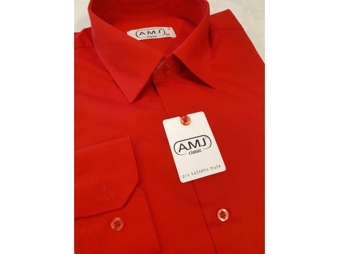 Pánská košile AMJ Comfort fit s prodlouženým rukávem - červená
