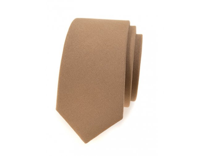 Úzká kravata Avantgard Lux - hnědá
