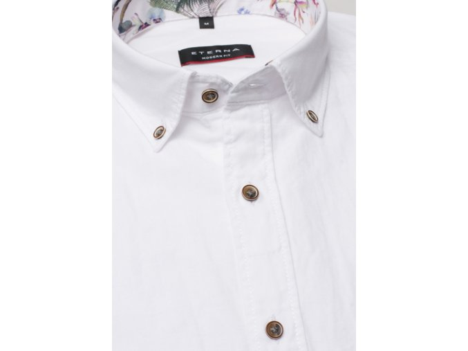 Košile Eterna Modern Fit s krátkým rukávem Lněná Bílá