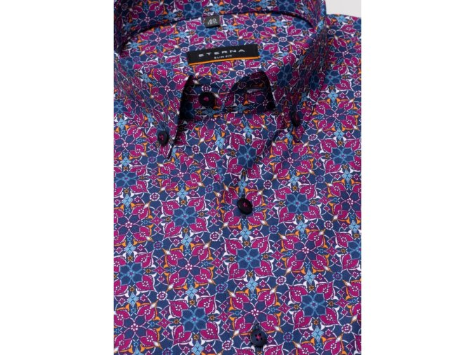 "Košile Eterna Slim Fit ""Print"" s krátkým rukávem  Bordó / Modrá"