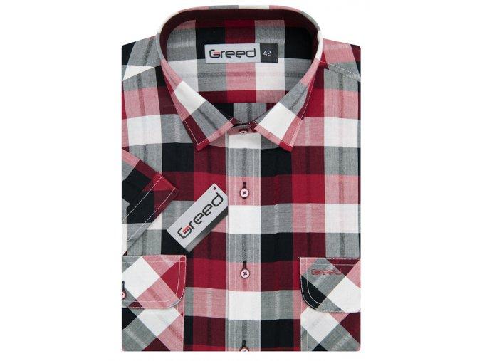 Košile AMJ Greed Comfort fit s krátkým rukávem - červená