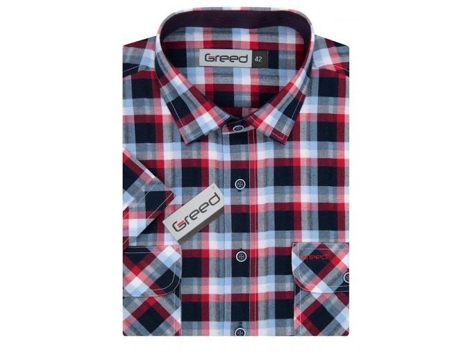Košile AMJ Greed Comfort fit s krátkým rukávem Červená