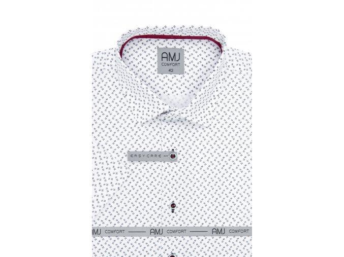 Košile AMJ Comfort fit s krátkým rukávem -  bílá s tmavým vzorem