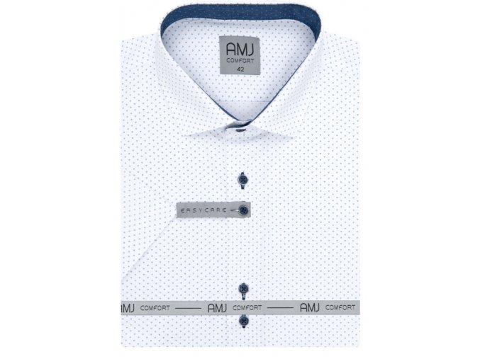 Košile AMJ Slim fit s krátkým rukávem -  bílá s modrým vzorem