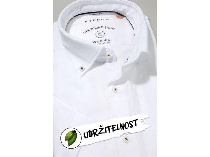 """Košile Eterna Modern Fit """"Popeline"""" Upcycling Shirt s krátkým rukávem Bílá"""