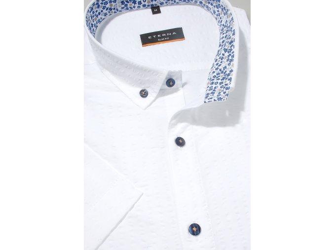 """Košile Eterna Slim Fit """"Krep"""" s krátkým rukávem Bílá"""