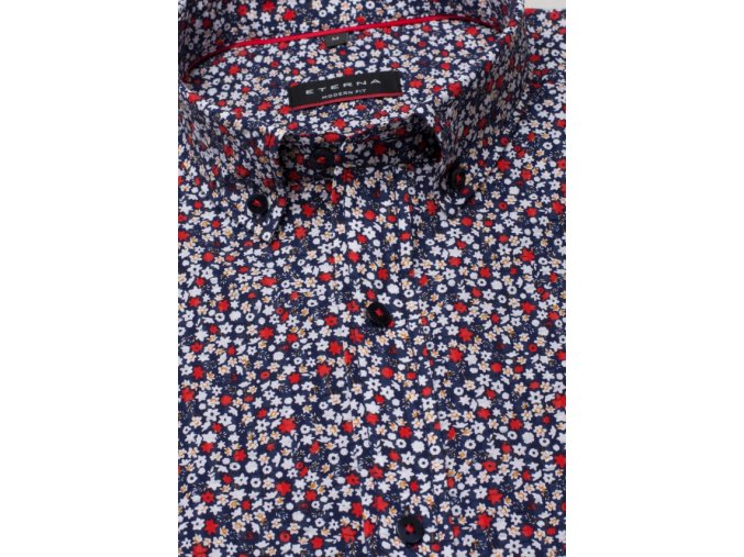 """Košile Eterna Modern Fit """"Krep"""" s krátkým rukávem Červená / Modrá"""