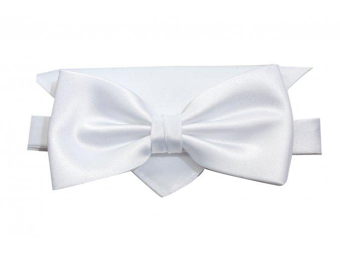 Dvojitý motýlek Brinkleys Classic s kapesníčkem - bílý