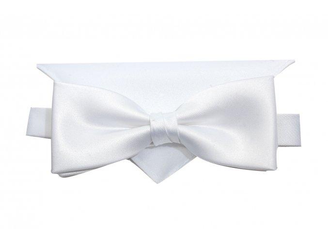 Dvojitý motýlek Brinkleys Modern s kapesníčkem - bílý