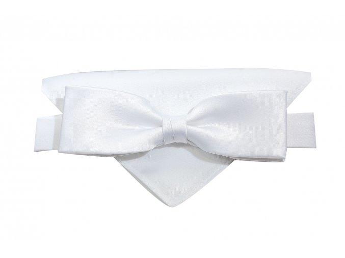 Dvojitý motýlek Brinkleys Slim s kapesníčkem - bílý