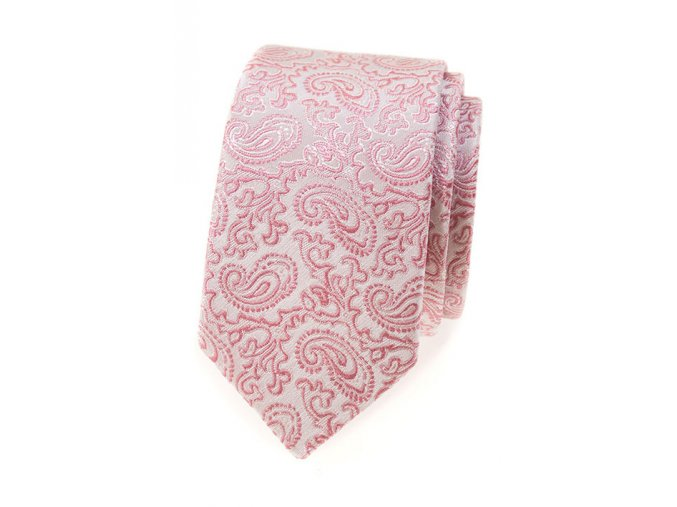 Úzká kravata Avantgard Lux - pudrová