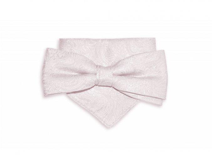 Dvojitý motýlek Brinkleys Modern s kapesníčkem - jemně růžový