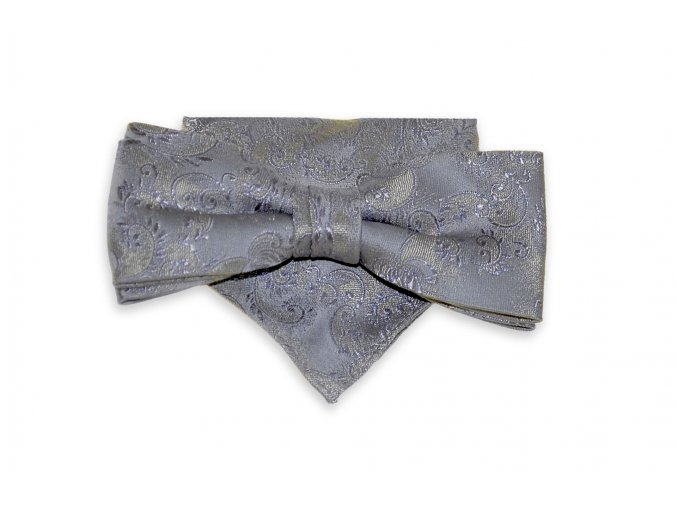 Dvojitý motýlek Brinkleys Modern s kapesníčkem - šedo-béžový
