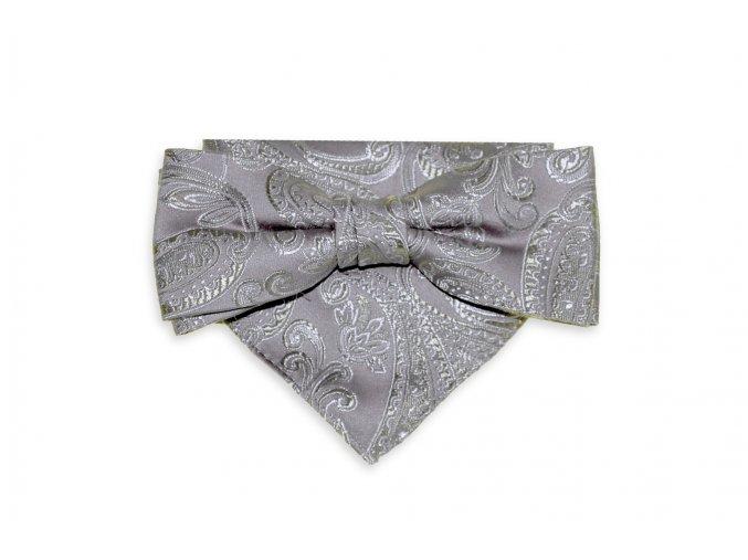 Dvojitý motýlek Brinkleys Modern s kapesníčkem - stříbrno-béžový