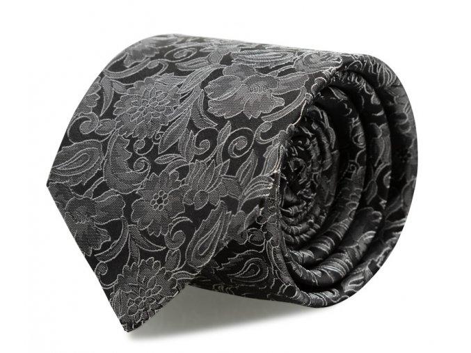 Kravata s kapesníčkem Brinkleys - černo-stříbrná