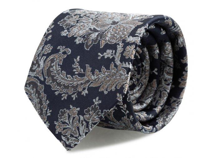 Slim kravata s kapesníčkem Brinkleys - navy se stříbrno-hnědou výšivkou