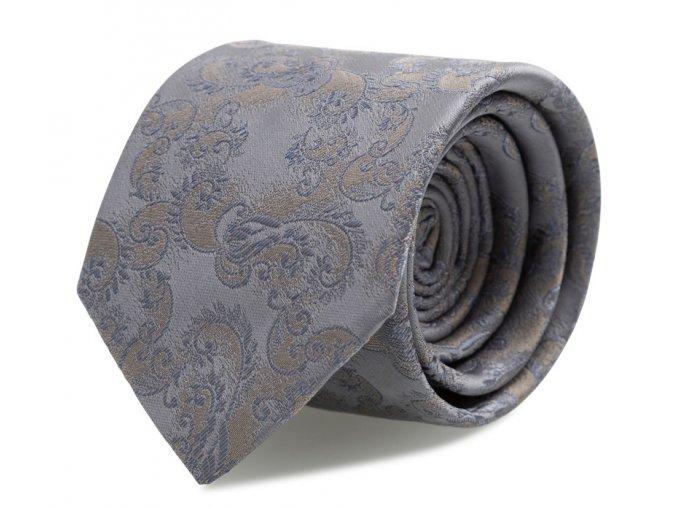 Slim kravata s kapesníčkem Brinkleys - šedo-béžová