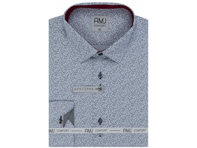 Pánská košile AMJ Comfort fit vzorovaná - šedá