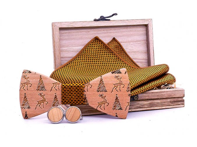 Dřevěný motýlek s manžetovými knoflíčky