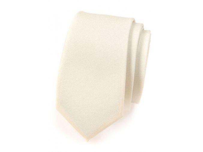 Úzká kravata Avantgard - smetanová matná
