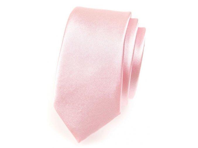 Úzká kravata Avantgard - světle růžová